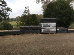 De hoeveelheid nieuwe dakplaten!